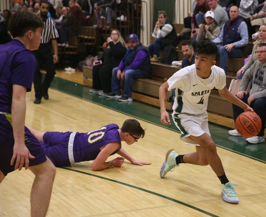 Spackenkill's Brandon Bairan looks to drive from the perimeter against Rhinebeck during a Jan. 24 boys basketball game.