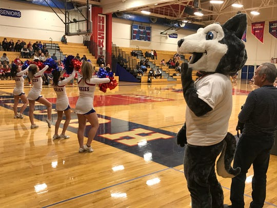The Reno High mascot at Tuesday's basketball games against Reed.