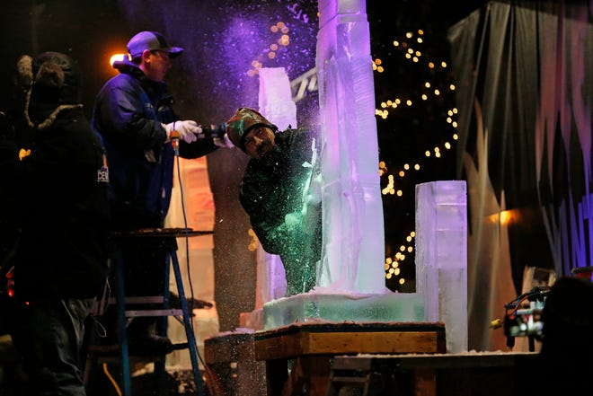 """The Meltdown Winter Ice Festival's """"Big Reveal"""" event took place at Jack Elstro Plaza in downtown Richmond on Friday, Jan. 24, 2020."""