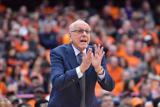 Syracuse Orange head coach Jim Boeheim calls out to his team against the Pittsburgh Panthers in the first half at the Carrier Dome.