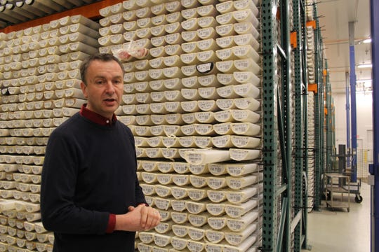 Anthony Koppers, co-director of the Marine Geology Repository, stands before racks of ocean core samples.