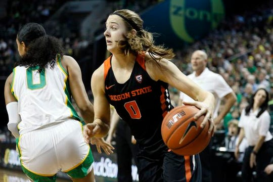 Jan 24, 2020; Eugene, Oregon, USA; Oregon State Beavers guard Mikayla Pivec (right) drives to the basket past Oregon Ducks forward Satou Sabally (0) during the first half at Matthew Knight Arena. Mandatory Credit: Soobum Im-USA TODAY Sports