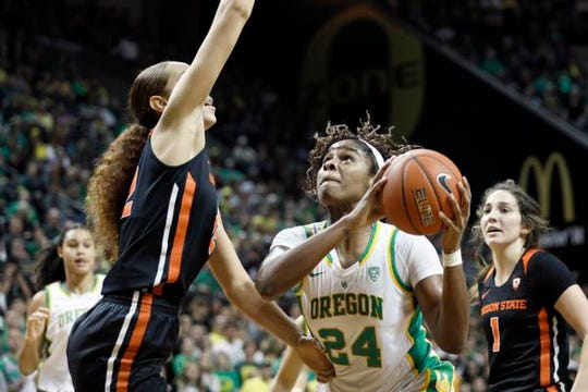 Jan 24, 2020; Eugene, Oregon, USA; Oregon Ducks forward Ruthy Hebard (24) looks to shoot as Oregon State Beavers forward Patricia Morris (left) defends during the second half at Matthew Knight Arena. Mandatory Credit: Soobum Im-USA TODAY Sports