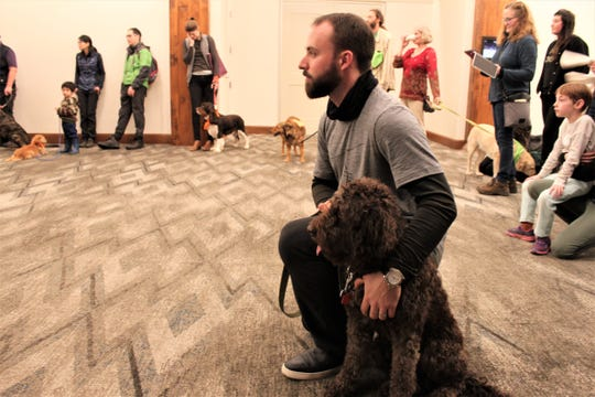 The contestants of the sixth annual Joriad wait at the Graduate Hotel in Eugene to learn the results of the North American truffle dog championship on January 23, 2020.