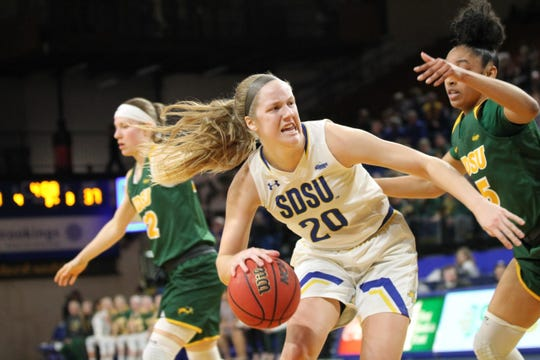 Tori Nelson of SDSU backs down NDSU's Ryan Cobbins during the game Friday at Frost Arena
