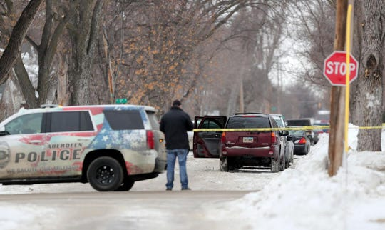 Detectives with the Aberdeen Police Department investigate an incident in the 1100 block of South Washington Street Saturday morning. Officials with the department plan to release information on the incident Saturday afternoon.