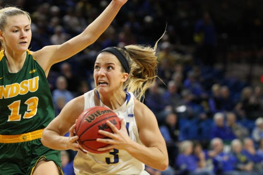Lindsay Theuninck of SDSU drives to the basket during Friday's win over North Dakota State