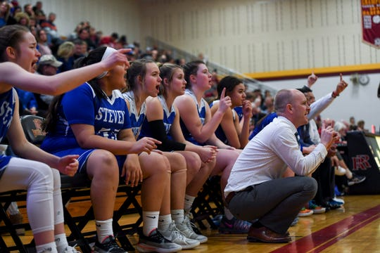 Rapid City Stevens girls watch the game against Roosevelt from the bench on Friday, Jan. 24, 2020 at Roosevelt High School.