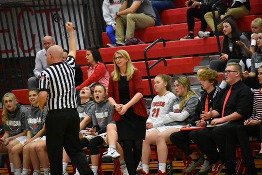 Hurricane coach Shelly Thomas reacts to a call Wednesday night during the Tigers' game against Pine View.