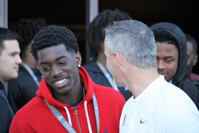2021 four-star cornerback Terrion Arnold meets with FSU coach Mike Norvell on his junior day visit to FSU on Jan. 25, 2020.
