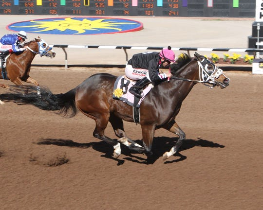 Ryansmanonthemoon won the 440-yard Dona Ana County Handicap on Saturday at Sunland Park Racetrack & Casino.