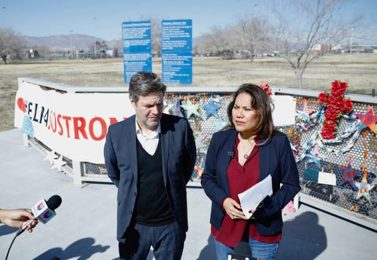 U.S. Rep. for El Paso Veronica Escobar and Robert Habeck, chairman of the German Green Party, met at a memorial in remembrance of the Aug. 3 shooting in East El Paso to denounce hate speech and racism.