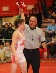 Sean Garofal from North Rockland defeated James Sullivan from Clarkstown South in the 132 pound category, during the 2020 Rockland County Wrestling Championships  at Tappan Zee High School in Orangeburg, Jan. 25, 2020.