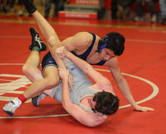 Laurence Koodin from Suffern defeated Jason Burnich from Nanuet in the 152 pound category, during the 2020 Rockland County Wrestling Championships  at Tappan Zee High School in Orangeburg, Jan. 25, 2020.