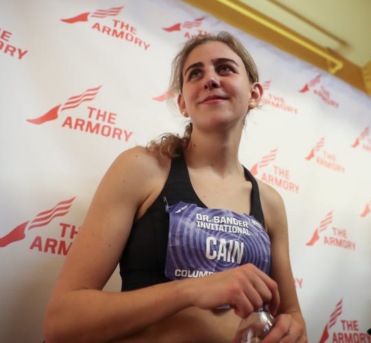 Mary Cain talks to the press after competing in the Invitational 3000-meter run in the Dr. Sander Invitational Columbia Challenge at The Armory New Balance Track & Field Center in New York on Saturday, January 25, 2020.