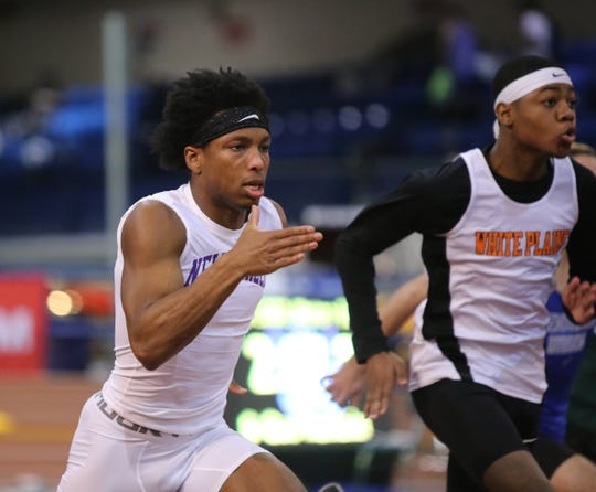 Athletes compete in the Westchester County Indoor Track & Field Championships at The Armory New Balance Track & Field Center in New York on Friday, January 24, 2020.