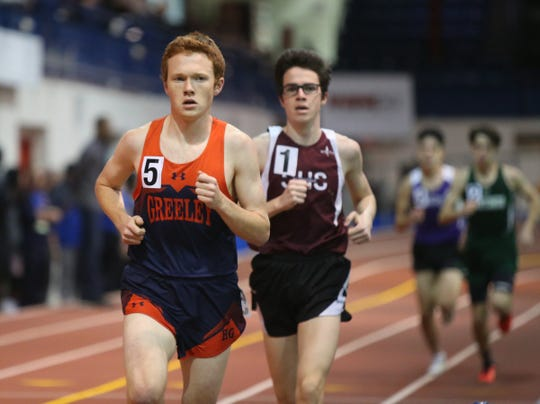 Horace Greeley's Joseph O'Brien wins the 3200-meter run with a 9:30.14 time at the Westchester County Indoor Track & Field Championships at The Armory New Balance Track & Field Center in New York on Friday, January 24, 2020.