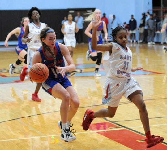 Graham's Chloe Menard allows Hirschi's Ashton Carter to go by her to pull up for a shot in District 6-4A action at Hirschi Fieldhouse on Friday, Jan. 24, 2020.