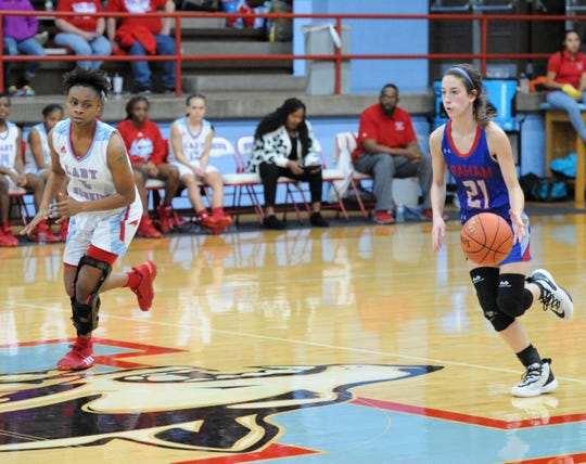 Graham's Kate Gober (21) dribbles up the floor with Hirschi's Eternity Hull in pursuit during District 6-4A action at Hirschi Fieldhouse on Friday, Jan. 24, 2020.