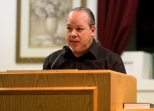 Daniel Peterson of Wichita Falls speaks about his friend Jessie Barnes Saturday, Jan. 25, 2020, during Barnes' memorial service at Jefferson Street Baptist Church.