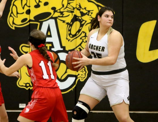 Archer City's Bailey Grant looks to pass against Olney Friday, Jan. 24, 2020, in Archer City.