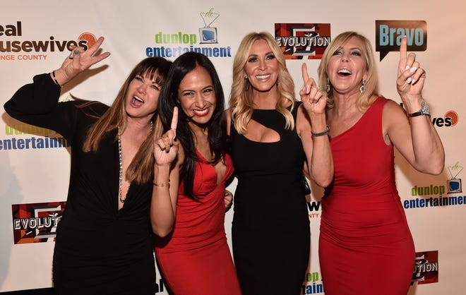 """TV personalities Jeana Keough, Jo De La Rosa, Lauri Peterson and Vicki Gunvalson attend the premiere party for Bravo's """"The Real Housewives of Orange County"""" 10 year celebration  at Boulevard3 on June 16, 2016 in Hollywood, California."""