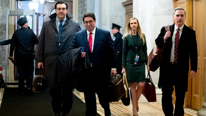 Attorneys for President Donald J. Trump's defense team, Jay Sekulow (2-L), Jordan Sekulow (L) and White House Counsel Pat Cipollone (R), arrive for the Senate impeachment trial in the US Capitol on Jan. 25, 2020. Following three days of opening arguments from House impeachment managers, members of Trump's defense began their arguments in the impeachment trial.