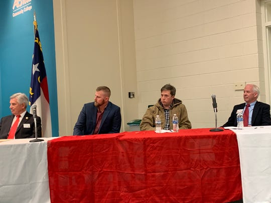 Candidates at the 11th District Republican forum on Jan. 25 at Asheville-Buncombe Technical Community College. From left: Jim Davis, Dillon S. Gentry, Dan Driscoll, Chuck Archerd.