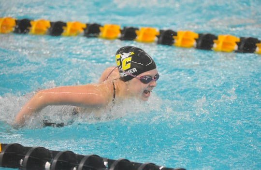 Colonel Crawford's Emma Swisher competes in the 200 IM at the NCOSL Championship.