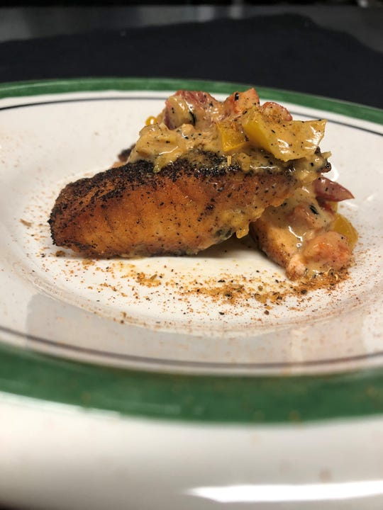 Blackened Salmon Maque Choux from Peter James BYOB in Westmont.