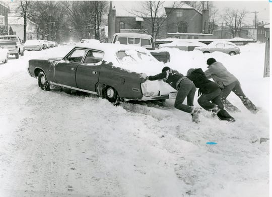 A common sight during the blizzard was people trying to get their cars unstuck from the snow. The blizzard of 1978 hit Jan. 25-27 across Ohio, including Ross County, where the snow had already fallen heavily earlier in the the month.