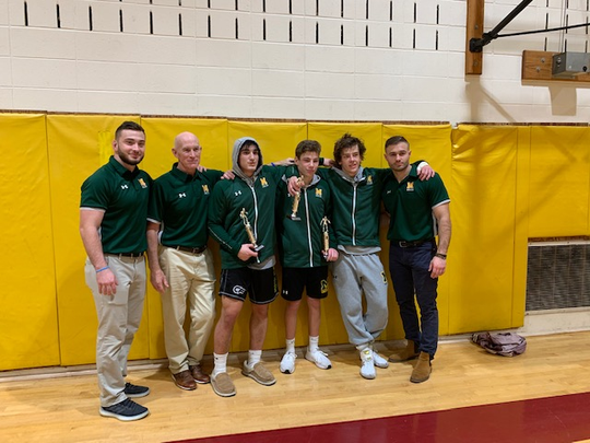 Montgomery wrestlers who placed in the SCT with their coaches (from left to right) Cory Goshkagarian, Jay Stuart, Alex Ipeker, Jared Segota, Alex Abrahamsen and Nick Cassar