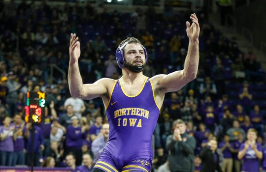 Northern Iowa's Bryce Steiert celebrates after beating Oklahoma State's Joe Smith at 174 pounds on Saturday, Jan. 25, 2020, at the McCleod Center in Cedar Falls.