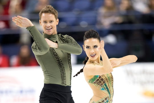 Madison Chock (Novi) and Evan Bates (Ann Arbor) compete in the senior free dance long program championship free skate program Saturday at the U.S. Figure Skating Championships.