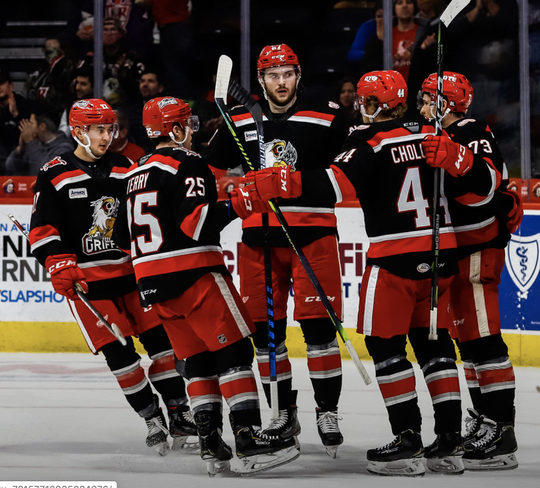 The Griffins celebrate a goal in Saturday's 3-1 loss against the Gulls.