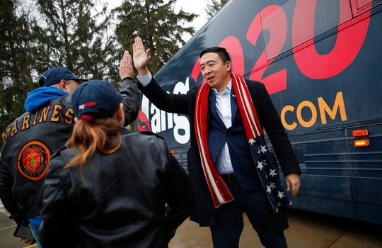 Democratic presidential candidate entrepreneur Andrew Yang thanks supporters after a campaign event Thursday, Jan. 23, 2020, in Clinton, Iowa.