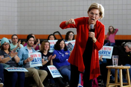 Democratic presidential candidate Sen. Elizabeth Warren, D-Mass., is applauded as she speaks during a town hall meeting Sunday, Jan. 26, 2020, in Davenport, Iowa.