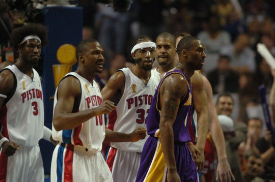 Kobe Bryant in disbelief as he leaves the floor during the NBA Finals against the Pistons in 2004.