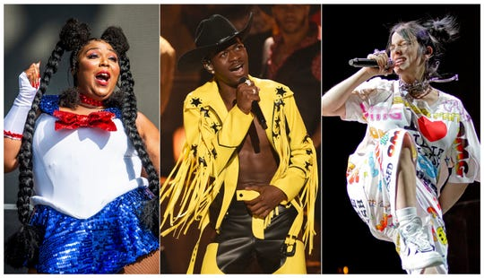 Lizzo, left, Billie Eilish and Lil Nas X lead in nominations at the 2020 Grammy Awards.