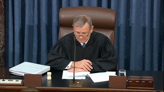 Presiding officer Supreme Court Chief Justice John Roberts speaks during the impeachment trial against President Donald Trump in the Senate at the U.S. Capitol in Washington, Saturday, Jan. 25, 2020.