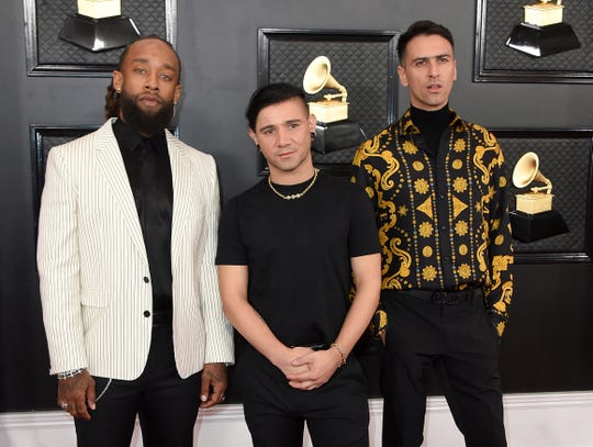 Ty Dolla Sign, from left, Skrillex and Boys Noize arrive at the 62nd annual Grammy Awards at the Staples Center on Sunday, Jan. 26, 2020, in Los Angeles.