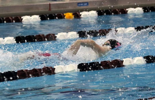 Carter Anderson of Ithaca swims to first place in the 100-yard backstroke at the John Beecher Boys Swimming and Diving Invitational at Ernie Davis Academy in Elmira on Jan. 25, 20202.