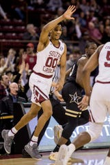 Jan 25, 2020; Columbia, South Carolina, USA; South Carolina Gamecocks guard A.J. Lawson (00) celebrates after a three point basket against the Vanderbilt Commodores in the first half at Colonial Life Arena. Mandatory Credit: Jeff Blake-USA TODAY Sports