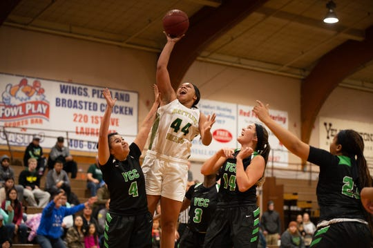 Former Great Falls High, Highwood star Markaela Francis (44) is turning in a fine season for Rocky Mountain College this year.