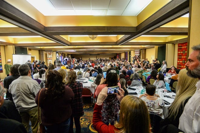 People pack the banquet room at the Holiday Inn in Great Falls for the Little Shell Chippewa Tribe's celebration dinner honoring their federal recognition, Saturday night, January 25, 2020.