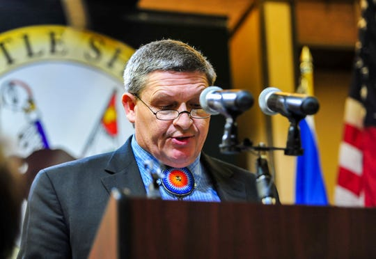Gerald Gray, tribal chairman of the Little Shell Chippewa Tribe, speaks during a dinner celebrating the tribe's federal recognition on Saturday at the Holiday Inn in Great Falls, January 25, 2020.