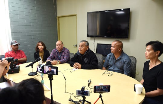 A press conference on the Ramirez Way death investigation is held at the Guam Police Department Headquarters in Tiyan Jan. 26, From left: Ike Peredo, Guam Customs and Quarantine Agency director; Melanie Brennan, Department of Youth Affairs director; P. Tim Aguon, Guam Homeland Security/Office of Civil Defense adviser to the governor; Police Chief Stephen Ignacio; Guam Police Department Maj. Fred Chargulaf; and Maj. Gen. Esther Aguigui, Guam National Guard adjutant general.