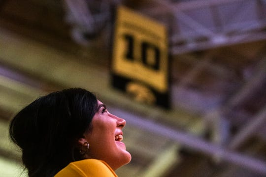 Former Iowa Hawkeyes center Megan Gustafson has her No. 10 jersey retired after a NCAA Big Ten Conference women's basketball game between the Iowa Hawkeyes and Michigan State, Sunday, Jan. 26, 2020, at Carver-Hawkeye Arena in Iowa City, Iowa.