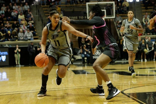 Purdue guard Dominique Oden (11) drives against Penn State guard Shay Hagans (23) during the first quarter of a NCAA women's basketball game, Sunday, Jan. 26, 2020 at Mackey Arena in West Lafayette.