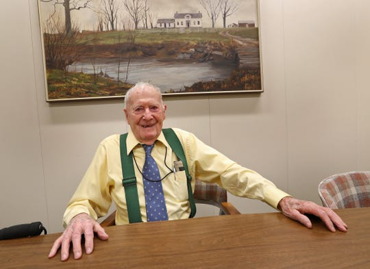 Indiana's oldest state employee, Bob Vollmer, talks about his life and work, Friday, Jan. 17, 2020.  The 102-year-old surveyor from the Indiana Department of Natural Resources retired on Feb. 6, 2020 from the agency he has been with since 1962.